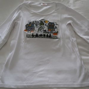 Quaker Factory Halloween White 3 Qtr Top Size XS